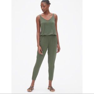 Gap Strappy Cami Jumpsuit in Tweed Green, Size L